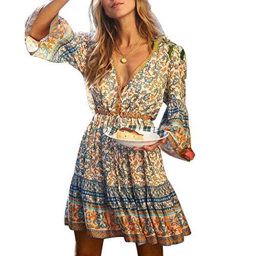 Strandkleider Damen Sommer Kurz, Teenager Mädchen Sexy V-Ausschnitt Vintage Boho Sommerkleid Flowy Strand Blumen Kleider Floral A-Linie Swing Minikleid Langarm Herbstkleid mit Gürtel (Blau,XL)