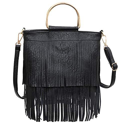 Ayliss Women Fringe Tassel Crossbody Bag Leather Shoulder Bag Hobo Handbag (Brown)