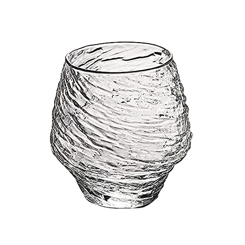 yijun Copa de vino Copa de whisky Pyrex Vaso de cerveza Copa de agua Swirl Wave Pattern Copa Mundial Forma Copa Copa Copa Copa (Capacidad: 401 500 ml, color: una taza de whisky)