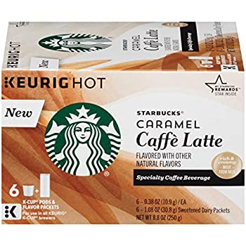 Starbucks Caramel Caffe Latte Specialty Coffee Beverage K-Cups 8.8 oz Box