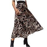 Sylar Falda Larga para Mujer con Cintura Elástica Falda Larga Mujer A-Line Vintage Falda Plisada Estampado De Leopardo Faldas Elegantes S