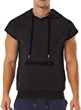 Mens Summer Hoodie Vest,Fashion Men's Summer Casual Hooded Pocket Short Sleeve Sport T-Shirt Top Vest Blouse