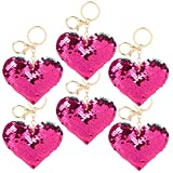 ArtCreativity Flip Sequin Heart Keychain, Pack of 12, Double-Sided Heart Shape Key Chain Charms for Backpacks, Purses, Luggage, Birthday Party Favors for Kids, Great Valentine's Day Gift