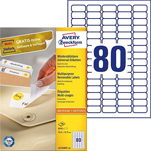 AVERY Zweckform L4732REV-100 Universal-Etiketten (35,6 x 16,9mm auf DIN A4, wieder rückstandsfrei ablösbar / abziehbar, bedruckbar, selbstklebend, 8.000 Klebeetiketten auf 100 Blatt) weiß