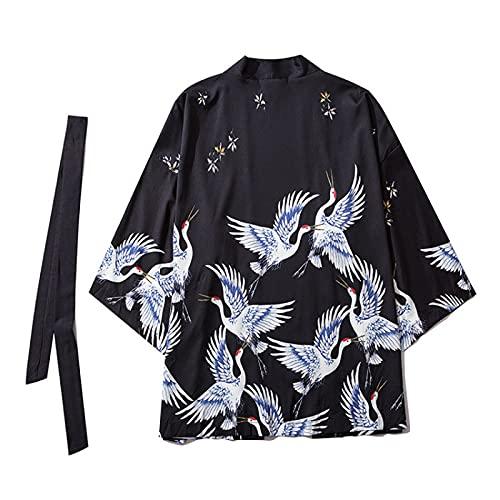 WYUKN Kimono de moda para hombre, kimono de verano, para hombre, unisex, japonés, Yukata, color negro