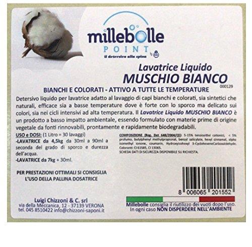 MILLEBOLLE Detersivo Liquido per Lavatrice Bianchi e Colorati Attivo A Tutte Le Temperature Muschio Bianco (3 kg)