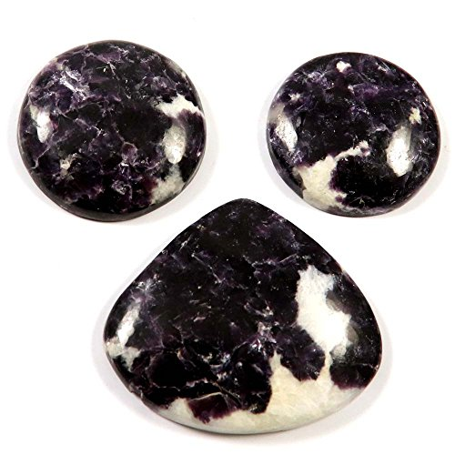 Gems&JewelsHub 159.55 CTS - Gemas de lepidolita (3 Unidades), Color Morado