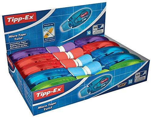 Tipp-Ex Korrekturroller Micro Tape Twist mit drehbarer Schutzkappe, 10er Pack mit Korrekturmäusen in vier verschiedenen Farben, 8m x 5mm