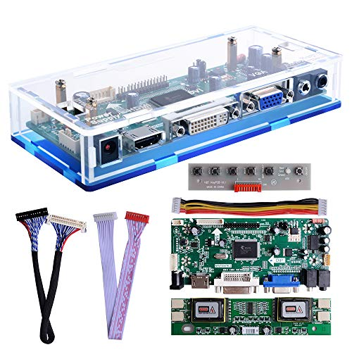 Owootecc NT68676 HDMI VGA DVI Arcade Audio Input LCD Controller Driver Board Kit with Acrylic Case For HSD190MEN4 M170EN06 M170EG01 17' 19' 1280x1024 4CCFL 30Pin LCD Panel, Fit for Arcade1Up Monitor