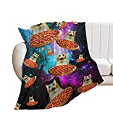 EFOEKY Cat Ultra Soft Fleece Blanket for Kids Adults Galaxy Pizza Cat Print Lightweight Cozy Plush Flannel Blanket For Sofa/Couch/Living Room/Bed Funny Decor Throw Blanket,40'×50'