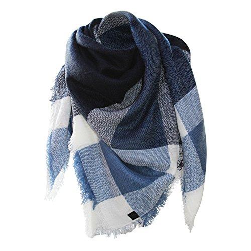 Glamexx24 XXL Schal Kuschelige, warme und wunderschöne Damen Poncho Schal mit verschiedenen Muster Schal Poncho, Blau, Einheitsgröße