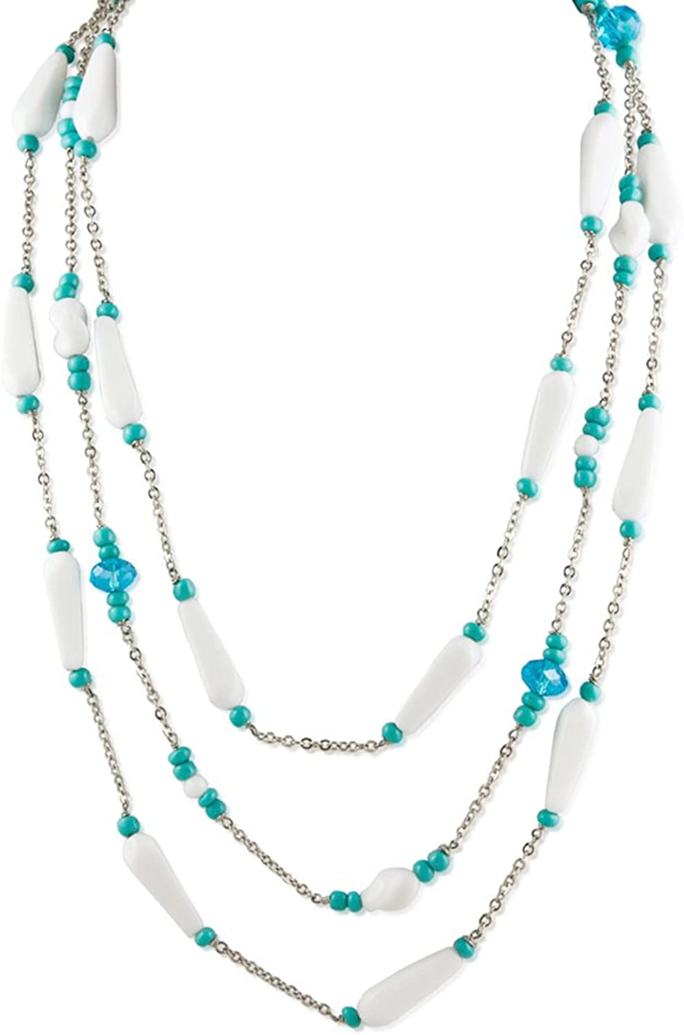 Alzerina Handmade Rhodium Plated Multilayer Swarovski Crystals and Vintage Glass Beads Necklace