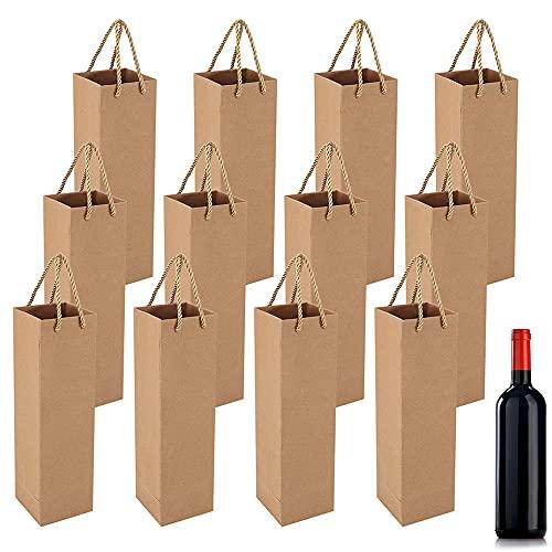 12 Piezas Bolsa de Regalo de Vino, Bolsas de Vino de Papel Kraft, Bolsas Papel Regalo Vino, Con Asa, Bolsa de Papel para Vino para Bodas, Navidad, Festas, Compras (Marrón)