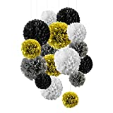 Paper Flowers 16PCS Tissue Pom Poms - White, Black and Glod Party Decorations for Wall, Ceiling and Cubicle
