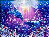 Animal marino hecho a mano delfín bordado de diamantes mosaico de diamantes de imitación kit de bordado de imágenes de animales pintura de diamantes para el hogar A5 45x60 cm