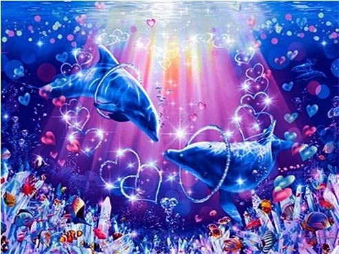 Animal marino hecho a mano delfín bordado de diamantes mosaico de diamantes de imitación kit de bordado de imágenes de animales pintura de diamantes para el hogar A5 40x50 cm