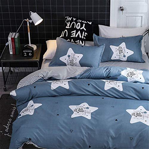 HJSM Juego de ropa de cama de 4 piezas, funda nórdica de microfibra, cómodo, juego de ropa de cama elegante y fundas de almohada, diseño de estrellas, 150 x 200 cm (1,2 m)