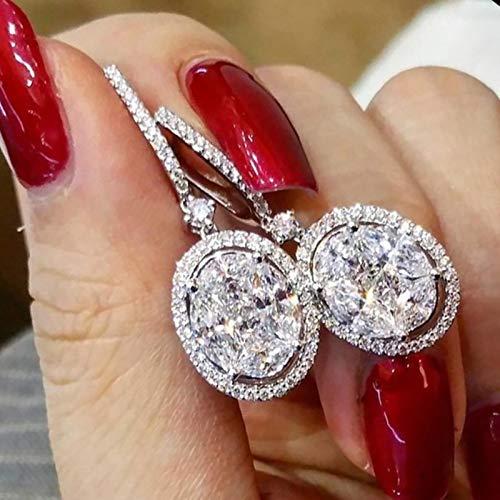 TGBN Female Drop Earring Oval Crystal Zircon 2 Colors Full Paved Stone Trendy Women Earrings Accessories