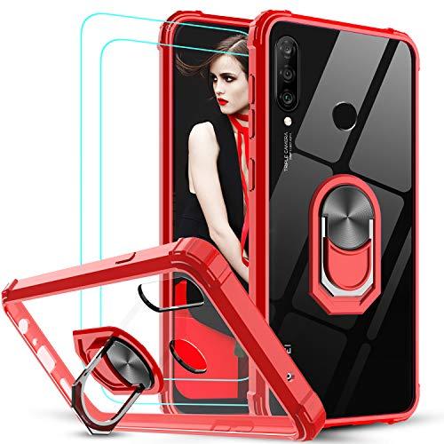 LeYi für Huawei P30 Lite/P30 Lite New Edition Hülle mit Panzerglas Schutzfolie(2 Stück), Ringhalter Schutzhülle Crystal Clear Acryl Cover Handy Hüllen für Case Huawei P30 Lite 2020 Handyhülle Rot