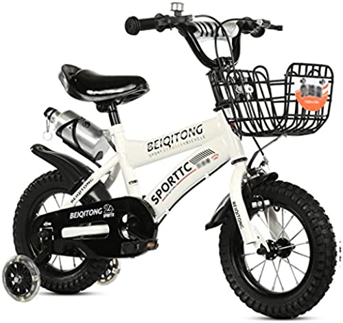 Kinderfahrrad Kinderwagen Kinder Mountainbike (Flash-Rad + Eisenkorbversion) (Farbe   Weiß, Größe   18 in)