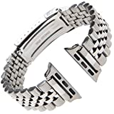 Gilden Non-Expansion Extra-Long Stainless Steel Watch Band 1542-SMART, fits Apple Apple Watch in size 38mm/40mm (Extra Long, Stainless Steel)