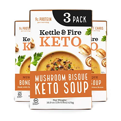 Keto Soup by Kettle and Fire, Cream of Mushroom Bisque Soup, Pack of 3, Gluten Free, Paleo Friendly, Collagen Soup on the Go, 9g of Protein, 16.9 fl oz