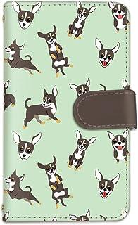 [bodenbaum] Galaxy A8 SCV32 手帳型 スマホケース カード スマホ ケース カバー ケータイ 携帯 SAMSUNG サムスン ギャラクシー エーエイト au チワワ 総柄 犬 d-299 (B.グリーン)
