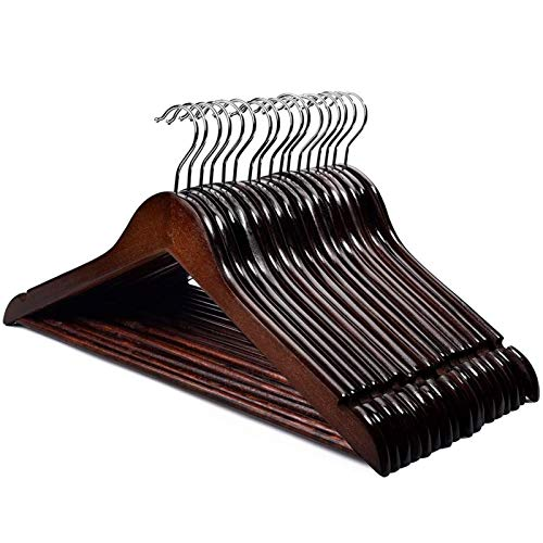 HOUSE DAY Premium Wooden Hangers for Coats Wooden Clothes Hangers 20 Pack Wooden Hangers Bulk Wooden Coat Hanger Brown Premium Hangers Wooden for Clothes Pants Skirt