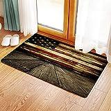 Yaoni Rutschfester Badvorleger, USA, Vintage amerikanische Flagge auf Holzbohlen Wand Hintergrund Grunge Print, Baby Bl,Mikrofaser Duschvorleger Teppich für Badezimmer Küche Wohnzimmer...