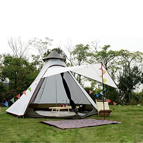 Tienda india Tipi al aire libre impermeable de doble capa tienda de campaña de torre tienda de campaña familiar tienda de campaña yurta tienda de campaña tipi para senderismo al aire libre 3-4 perso