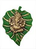 Charmy Crafts Metal Ganesha On Leaf, Wall Hanging Article for Wall Decor, Room Decor, Best for Housewarming, Wedding Gifts