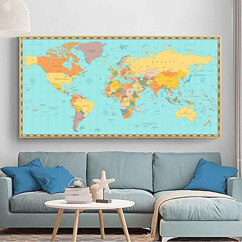 WSF-MAP, 1 stück reliabli Bunte Weltkarte Bilder Leinwand Gemälde Moderne Wandkunst für Wohnzimmer Dekoration Poster und Drucke Kein Rahmen (Farbe : 428208877, Größe : 40x80cm)