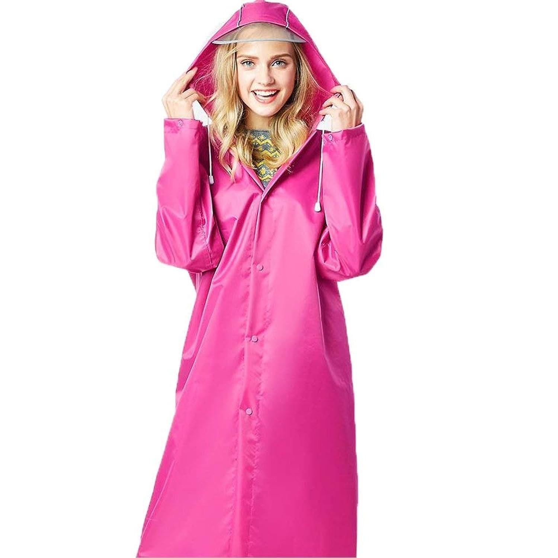 TILLION レインコート大人の女性厚いセクションウインドブレーカーレインコートアウトドアハイキング登山観光レインコート防風防寒性ポンチョ (Color : Pink, Size : M)