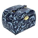 WXQIANG Caja de joyería de 3 Capas con Espejo cajón almacenaje de la joyería de Anillos Collares Pendientes, Azul, latón, Multicolor, Rojo (Color : Blue)
