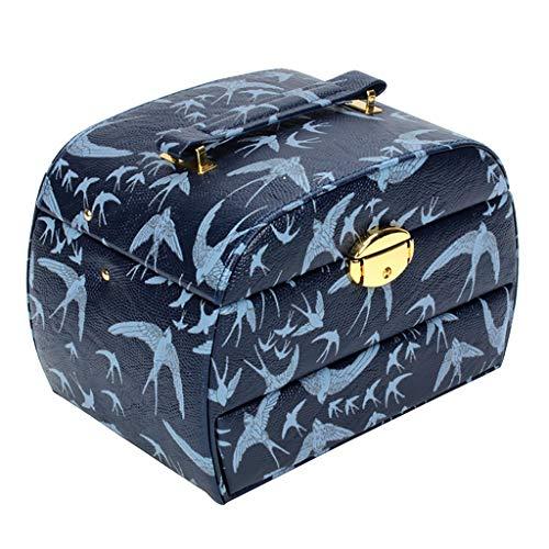 WXQIANG Schmuck Box 3 Ebene mit Spiegel Schublade Schmuckaufbewahrung for Ringe Halskette Ohrringe, Blau, Messing, Mehrfarbig, Rot (Color : Blue)