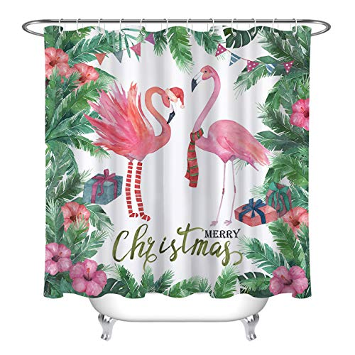 LB Watercolor Christmas Flamingo Shower Curtain Set Green...