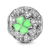 NINAQUEEN Charm Encaja con Pandora Verde Trébol de Cuatro Hojas Regalos Mujer Originales Plata de Ley 925 Zirconia Abalorios para Niñas Madre Hija Esposa de Cumpleaños