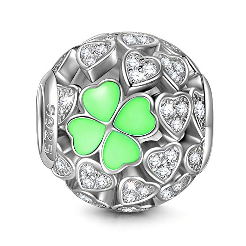 NinaQueen 'Lucky Clover' 925 Sterling Silver Heart Shape Clovers Openwork Bead Fit Pandöra Charms Birthday Anniversary Christmas Gifts For Woman Wife Mom Daughter Girls Valentines Day Gifts For Her