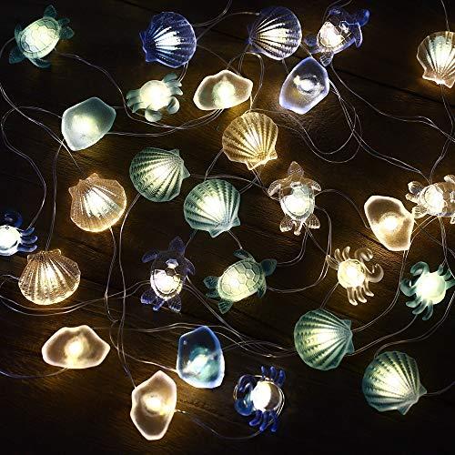 Guirnalda Luces Decorativas Habitacion Luces Led Guirnaldas Decoracion Marinera Playa Náutico Pared Boda Luz Led Pilas Concha de Mar Decorativas Cadena a pilas Decoracion Navideña Adornos Navidad