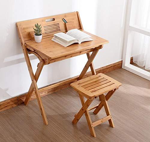 Modern Bamboo Computer Desk Folding Table Bamboo Furniture Children Study Desk For Kids Foldable Compact Bamboo Laptop Table (Color : Table With Chair)