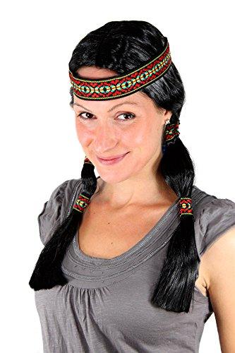 WIG ME UP - LM3043-P103 Party Perücke Indianerin, schwarz, Zöpfe, mit Stirnband