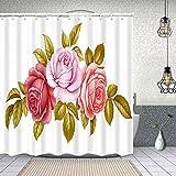 MAYUES Cortina de Ducha Impermeable Vector Floral Set Ramo Ramo Rosa Cortinas baño con Ganchos Lavable a Máquina 72x72 Inch