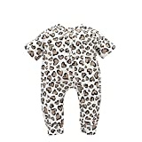 Qiraoxy Baby Strampler Neugeborenes Kleinkind Kurzarm Herz Leopard Muster Overall Liebe Leopardenmuster Baumwolle Kurzarm Strampler Baby Strampler Pyjama