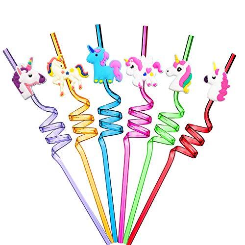 Ulife Mall 6 Pezzi Cannucce a Forma di Unicorno, Cannucce in Plastica Rigida Riccia Cannucce Colorate Riutilizzabili per Bambini, Decorazioni per Feste di Compleanno Forniture per Feste