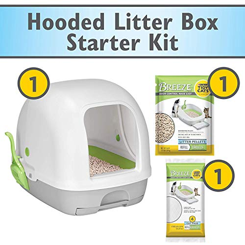 Purina Tidy Cats Hooded Litter Box System, Breeze Hooded System Starter Kit Litter Box, Litter Pellets & Pads (Limited Edition Kit Litter)