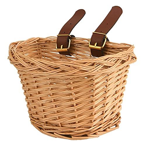EIRONA Kinderfahrrad-Lenkerkorb, Fahrradkorb-Aufhängekorb, geeignet für Jungen und Mädchen, Kinderfahrradzubehör, umweltfreundlicher handgefertigter Rattan-Korb