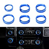 RDBS Interior Knob Ring Covers Trim Kit [6-PCS], Aluminum Air Conditioner Stereo Volume/Tune Trailer/4WD Switch Knob Button Console Covers Compatible with 2016-up Ford F150 XLT, Blue