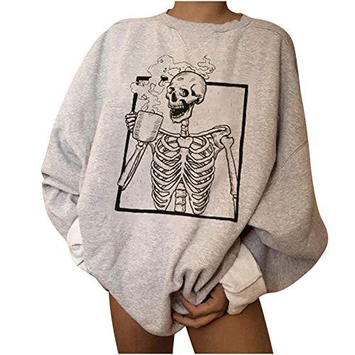 Xniral Halloween Pullover Skelett Tanzen Langarm Sweatshirt Damen Lose Rundhals Tops Bluse Herbst Winter Streetwear Oberteile(Grau 1,XL)