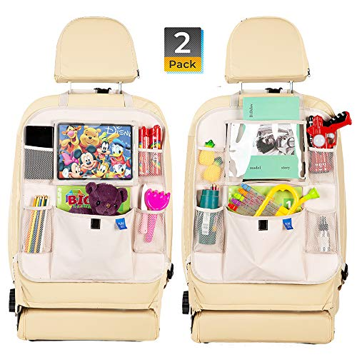 Car Backseat Organizer -Kick Mats Seat Protector with Tablet Holder Premium 600D Polyester Fabric and Multi Pocket for Large Storage -Universal fit Travel Accessories for Kids 2 Pack Beige