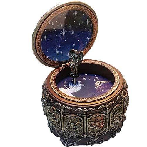 AmaMary Spieldose,Retro buntes Licht Zwölf Konstellationen Resin '' Schloss in der Sky''Music Box Geburtstag Weihnachten Geschenk (Skorpion)